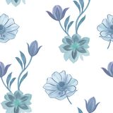 Teste padr?o de flores sem emenda da aquarela Flores pintados ? m?o em um fundo branco Flores para o projeto Flores do ornamento  ilustração stock