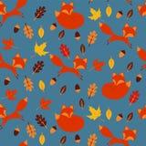 Teste padr?o do outono com raposas Folhas no fundo azul ilustração do vetor