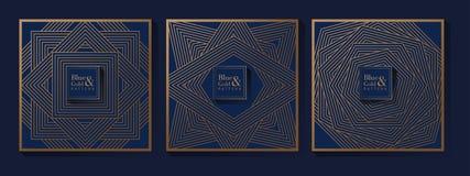 Teste padr?o luxuoso do azul e do ouro ilustração royalty free