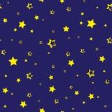 Teste padr?o sem emenda com as estrelas douradas em escuro - fundo azul Vetor ilustração royalty free
