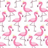 Teste padr?o sem emenda com flamingo dos desenhos animados ilustração do vetor