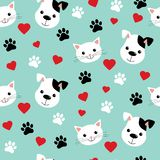 Teste padr?o sem emenda com gatos bonitos e c?es Ilustração do vetor e projeto bonitos para telas, matéria têxtil, papel de pared ilustração royalty free