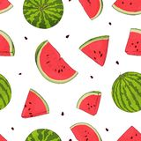 Teste padr?o sem emenda com melancias M?os do desenho ilustração stock