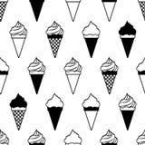 Teste padr?o sem emenda com os cones de gelado isolados no fundo branco Vetor ilustração royalty free