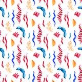 Teste padr?o sem emenda com plantas, as folhas e alga marinhas Flora marinha tirada m?o no estilo da aquarela ilustração do vetor