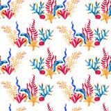 Teste padr?o sem emenda com plantas, as folhas e alga marinhas Flora marinha tirada m?o no estilo da aquarela ilustração stock