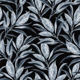 Teste padr?o sem emenda com ramos azuis da aquarela ilustração stock