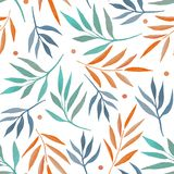Teste padr?o sem emenda com ramos coloridos da aquarela ilustração royalty free