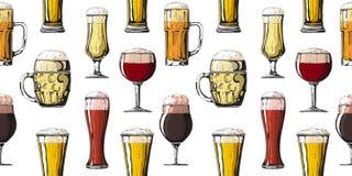 Teste padr?o sem emenda com vidros diferentes com cerveja, canecas diferentes de cerveja Ilustra??o do vetor fotografia de stock royalty free