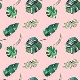 Teste padr?o sem emenda da aquarela desenhado ? m?o Folhas tropicais verdes ilustração royalty free