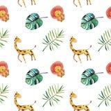Teste padr?o sem emenda da aquarela desenhado ? m?o Folhas tropicais verdes e animais selvagens no fundo branco ilustração do vetor