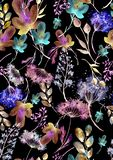 Teste padr?o sem emenda da aquarela, fundo com um teste padr?o floral Desenhos bonitos do vintage das plantas, flores, ramo do sa ilustração royalty free