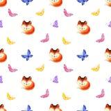 Teste padr?o sem emenda da inf?ncia com as raposas vermelhas bonitos e as borboletas ilustração royalty free
