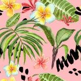 Teste padr?o sem emenda das folhas tropicais da aquarela E ilustração royalty free