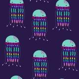 Teste padr?o sem emenda das medusa do vetor Sob o mar Sob o oceano ilustração stock