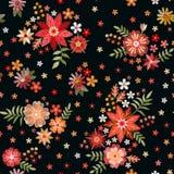 Teste padr?o sem emenda do bordado com flores bonitas Ornamento floral no fundo preto C?pia da forma para a tela e a mat?ria t?xt ilustração do vetor