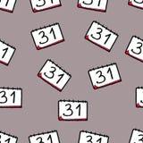 Teste padr?o sem emenda do Natal tirado ? m?o Calendário em um fundo cinzento Year' novo; v?spera de s 31 de dezembro ilustração stock