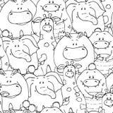 Teste padr?o sem emenda do vetor com os animais gordos bonitos engra?ados desenhados ? m?o Silhuetas dos animais em um fundo bran ilustração stock