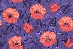 Teste padr?o sem emenda do vetor floral da arte imagens de stock royalty free