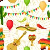 Teste padr?o sem emenda festivo de Cinco de Mayo Mexican imagem de stock