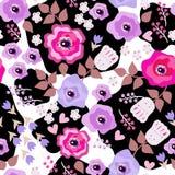 Teste padr?o sem emenda floral Flores pintadas bonitas no estilo popular no fundo preto e branco ilustração do vetor