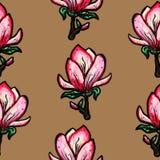 Teste padr?o sem emenda floral Magnólia de florescência em um fundo marrom C?pia para a tela e as outras superf?cies Ilustra??o d ilustração royalty free
