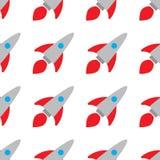 Teste padr?o sem emenda foguetes brilhantes no fundo branco Ilustra??o do ` s das crian?as O projeto ? ideal para imprimir sobre ilustração do vetor