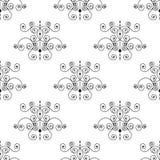 Teste padr?o sem emenda forjado da flor de lis preta em um fundo branco Projeto a c?u aberto da cerca do metal Estilo moderno par ilustração do vetor
