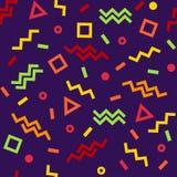 Teste padr?o sem emenda geom?trico, formas coloridas no fundo roxo escuro Vetor ilustração royalty free