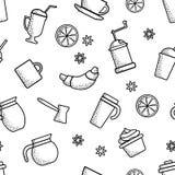 Teste padr?o sem emenda no tema do caf? Projeto do esbo?o Objetos pretos no fundo branco Vetor ilustração royalty free