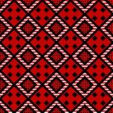 Teste padr?o sem emenda tirado do ornamento m?o popular Textura tribal abstrata Rombo preto, branco no fundo decorativo vermelho ilustração royalty free