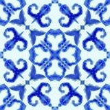 Teste padr?o sem emenda ?tnico Ornamento ?tnico do boho O laço abstrato do batik tingiu a tela, tingidura de Shibori Repetindo o  ilustração stock