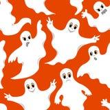 Teste padrão alaranjado sem emenda com fantasmas bonitos Imagens de Stock Royalty Free