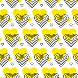 Teste padrão amarelo e preto do vetor com coração Imagens de Stock