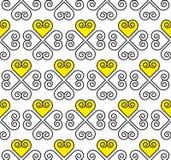 Teste padrão amarelo e preto do vetor com coração Foto de Stock Royalty Free