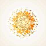 Teste padrão amarelo ensolarado do laço da aquarela Elemento do vetor mandala Fotografia de Stock