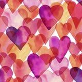 Teste padrão artístico do amor da aquarela do projeto do vetor sem emenda Fotos de Stock Royalty Free
