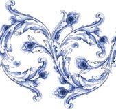 Teste padrão azul da textura da aquarela do vetor Fotos de Stock Royalty Free