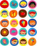 Teste padrão bonito com ícones, ilustração dos miúdos Foto de Stock