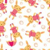 Teste padrão bonito das meninas do coelho Foto de Stock Royalty Free