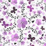 Teste padrão branco-lilas floral sem emenda Foto de Stock Royalty Free
