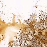 Teste padrão caligráfico do esboço floral Fotografia de Stock Royalty Free