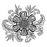 Teste padrão caligráfico do esboço floral Imagem de Stock Royalty Free