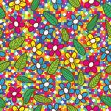 Teste padrão colorido do mosaico das folhas das flores Fotografia de Stock