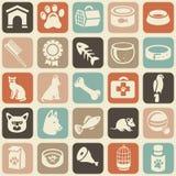 Teste padrão com ícones engraçados do gato e do cão Imagens de Stock