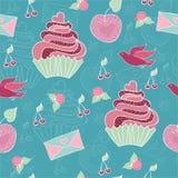 Teste padrão cor-de-rosa doce do queque Foto de Stock Royalty Free