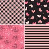 Teste padrão cor-de-rosa e preto combinado Fotografia de Stock