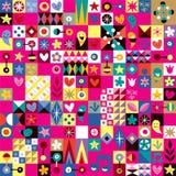 Teste padrão da arte abstrata dos corações, das estrelas e das flores Imagem de Stock Royalty Free