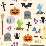 Teste padrão da arte do pixel de Dia das Bruxas Imagem de Stock Royalty Free