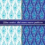 Teste padrão da curva da onda do ponto da água azul Fotos de Stock Royalty Free